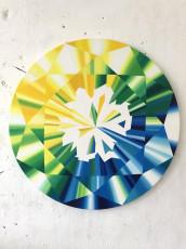 """Gradient Round Diamond"" Acrylic on Canvas 39 inches diameter"